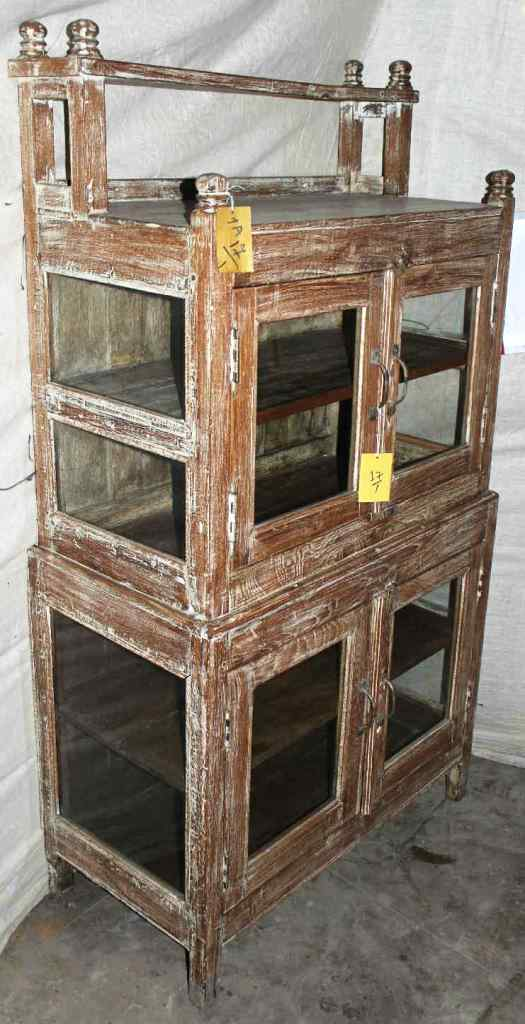Old teak wood glass cabinet, India