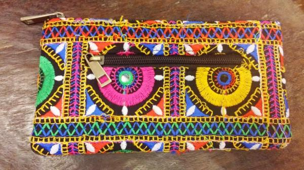 Embroidered purse, India