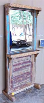 Teak wood mirror with stand, India
