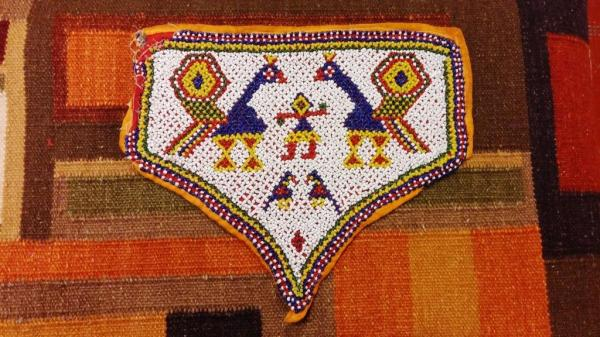 Glass beadwork textile, Gujarat