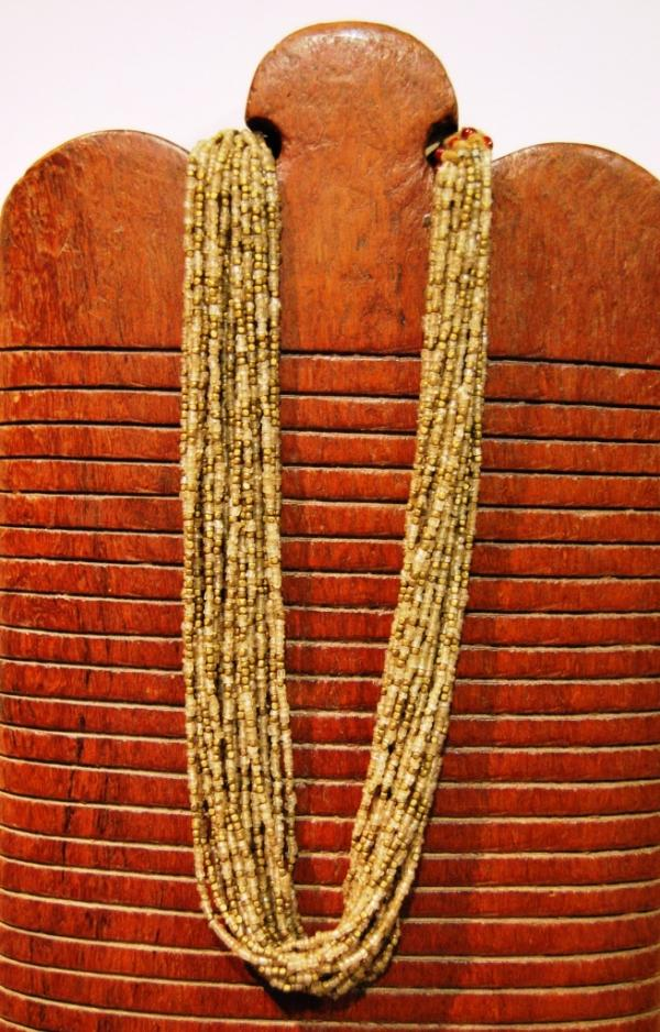 Glass and brass necklace, India