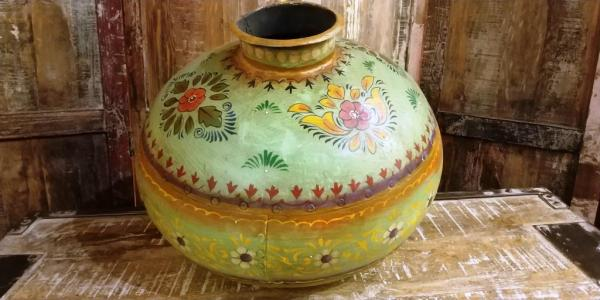 Hand painted metalic container
