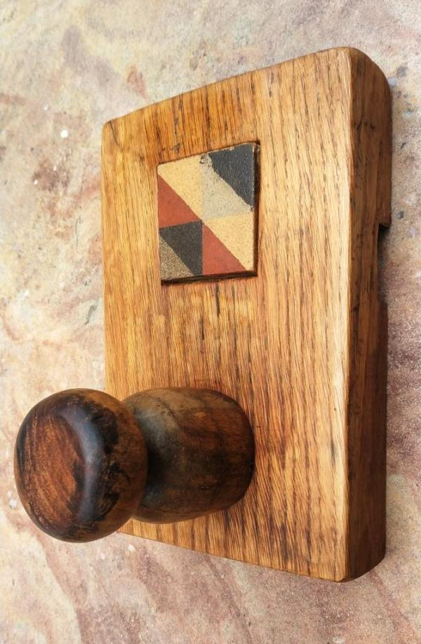 Oak wood and tile hook