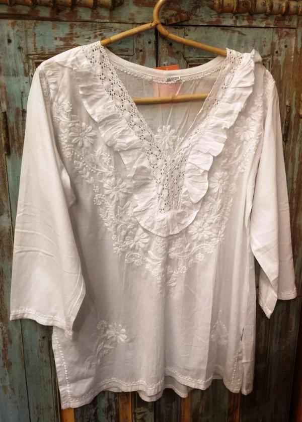 Cotton hand embroidered blouse, India